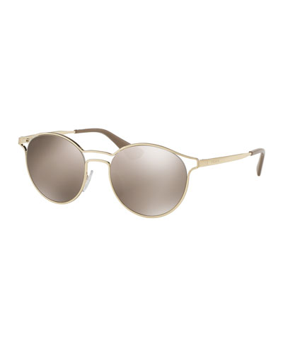 Round Metal Open-Inset Sunglasses, Gold