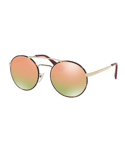 Trimmed Iridescent Round Sunglasses, Gold/Havana