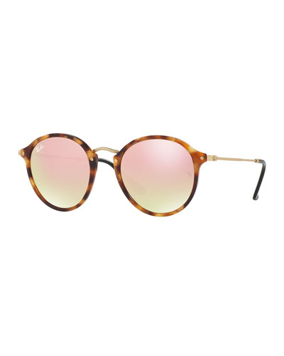 Iridescent Trimmed Round Sunglasses, Havana/Copper