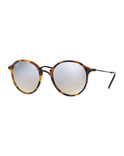 Iridescent Trimmed Round Sunglasses, Havana