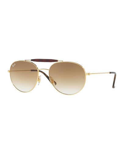 Gradient Round Brow-Bar Sunglasses, Brown/Gold