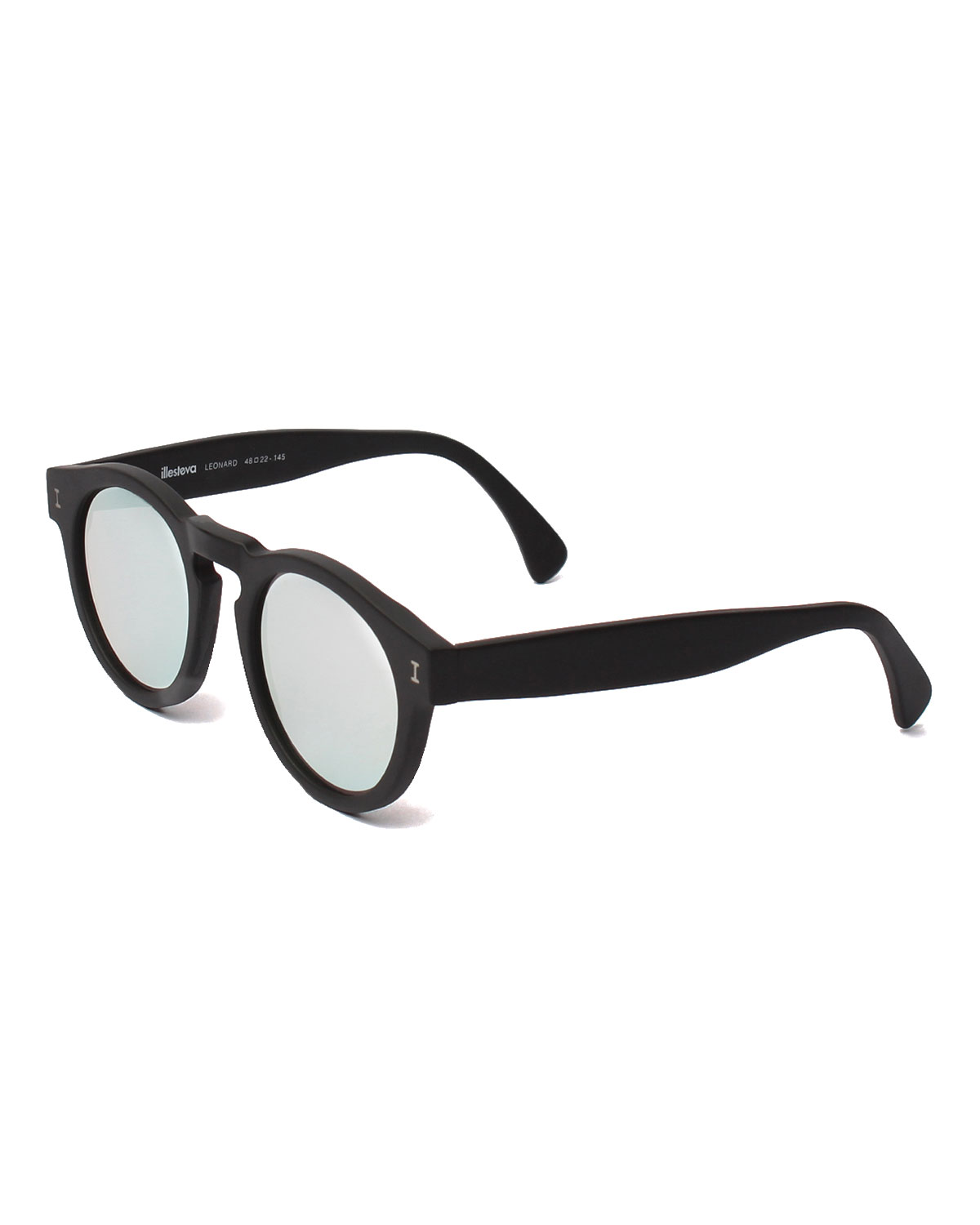 Leonard Round Mirrored Sunglasses, Black/Silver