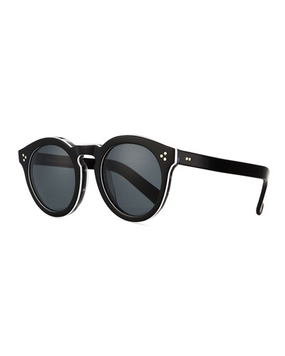 Leonard Round Mirrored Sunglasses, Tortoise/Blue
