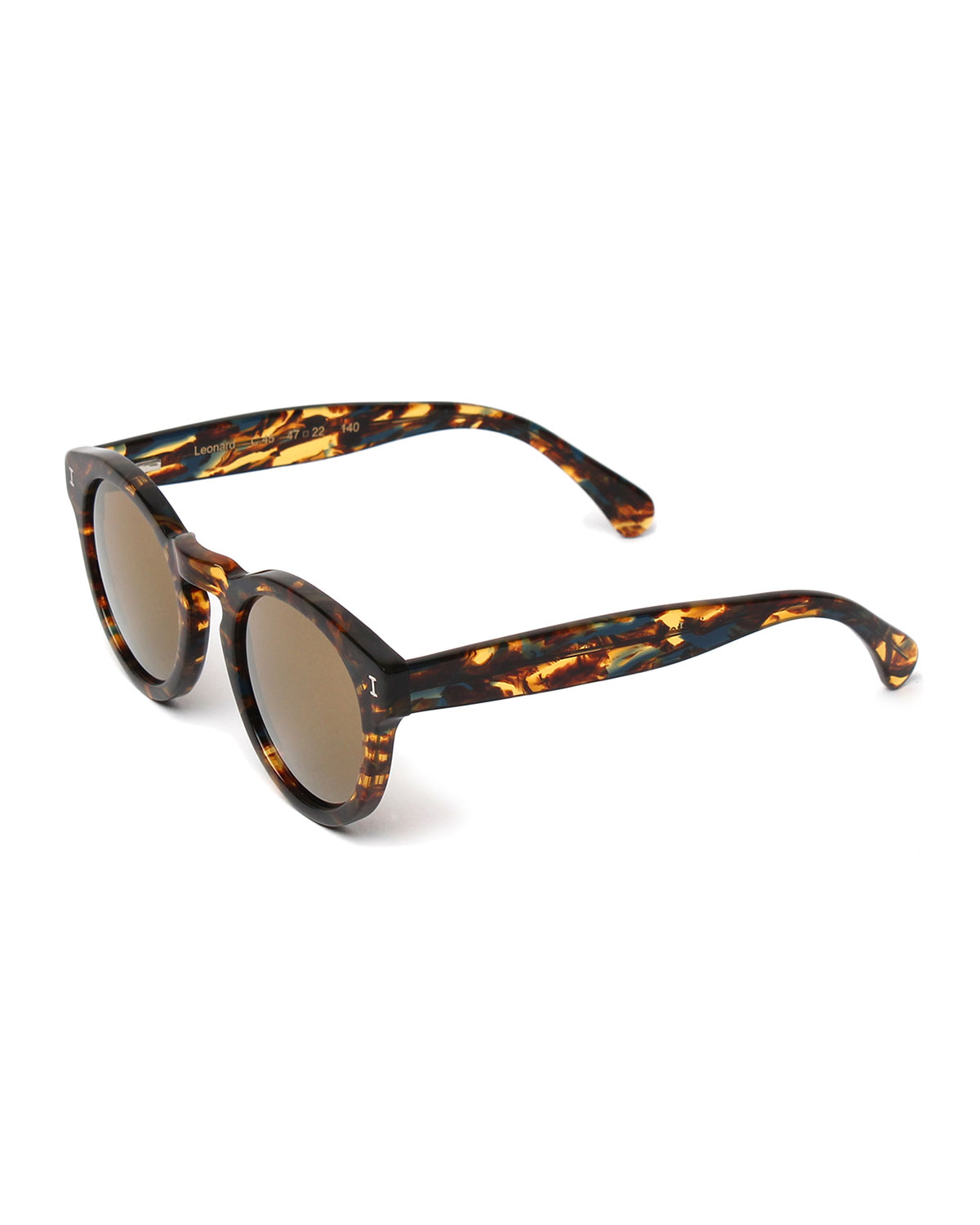 Leonard Round Monochromatic Sunglasses, Forest/Gold