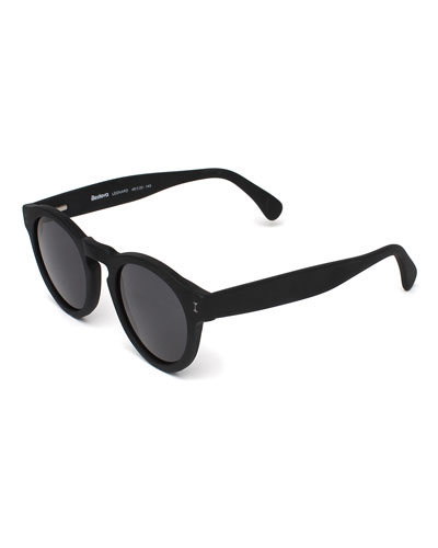 Leonard Round Monochromatic Sunglasses, Black