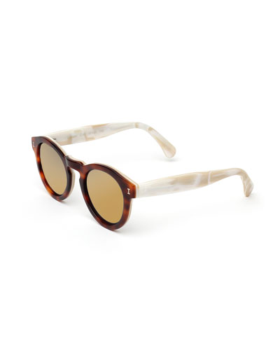 Leonard Round Two-Tone Mirrored Sunglasses, Tortoise/Cream/Gold