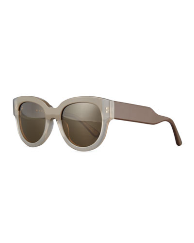 Cromo Square Two-Tone Sunglasses, Light Brown/Brown