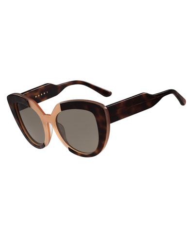 Prisma Two-Tone Cat-Eye Sunglasses, Havana/Peach