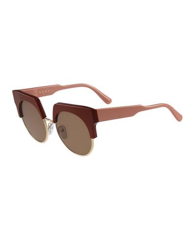 Square Semi-Rimless Two-Tone Sunglasses, Brick
