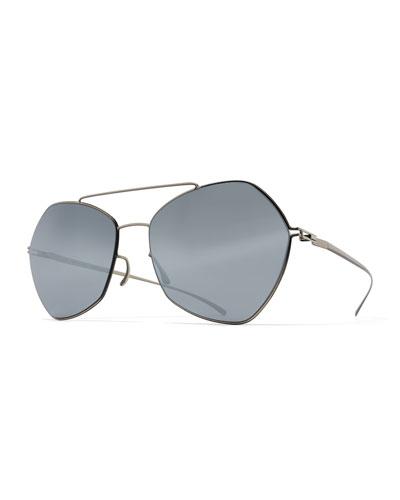 Esse Geometric Aviator Sunglasses, Silver