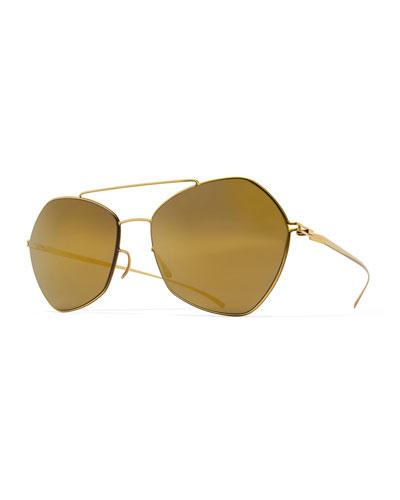Esse Geometric Aviator Sunglasses, Gold