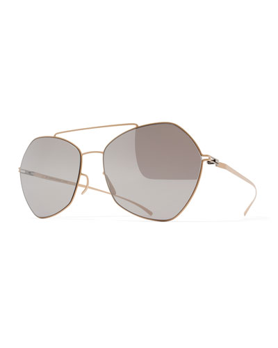 Esse Geometric Aviator Sunglasses, Nude/Gray