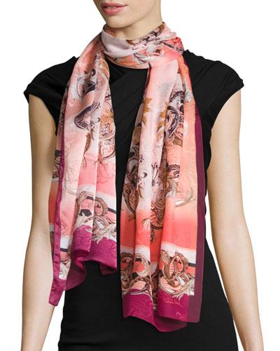 Scroll-Print Border Silk Scarf, Apricot