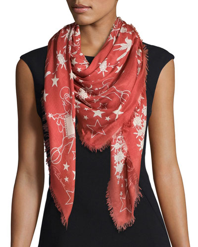 Pretty Thing Printed Voile Scarf, Crimson