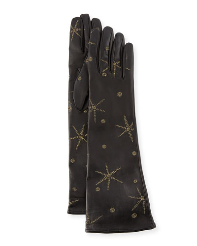 Antique Star Embroidered Leather Gloves, Black