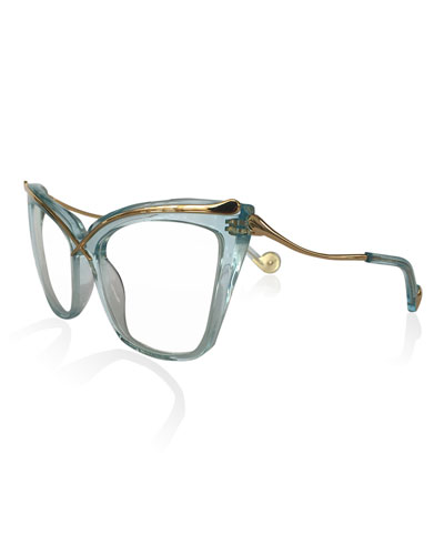 Lusciousness Divine Cat-Eye Optical Frames, Turquoise