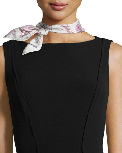 Flowers Silk Square Scarf, Rose