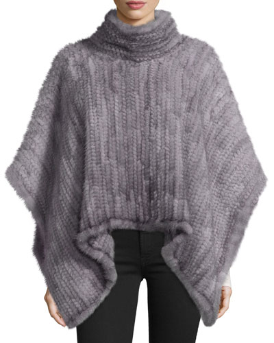 Knit Mink Fur Poncho, Gray