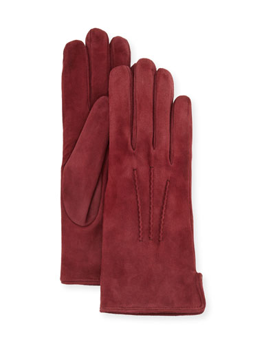 Cashmere-Lined Suede Gloves, Burgundy