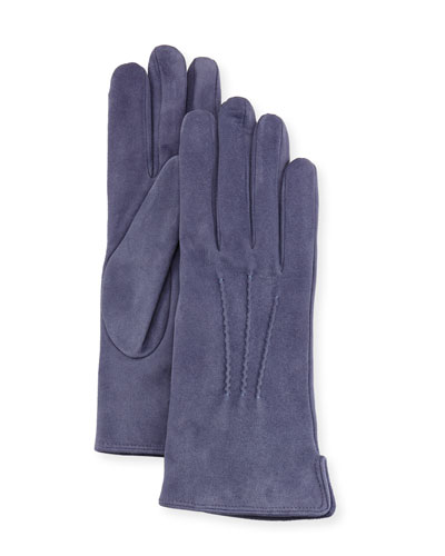 Cashmere-Lined Suede Gloves, Avion