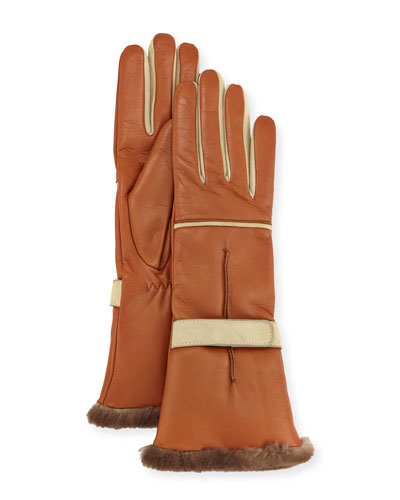 Leather Fur-Trim Gloves, Brown