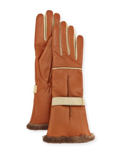 Leather Fur-Trim Gloves, Brown