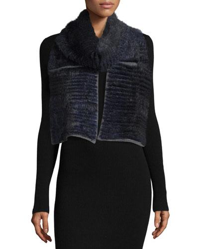Layered Fur Scarf, Navy/Gray