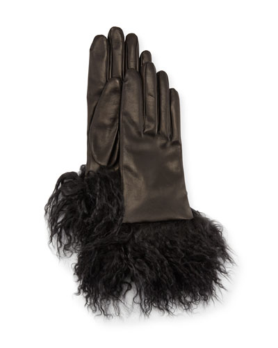 Leather Gloves w/ Fur Cuffs, Black