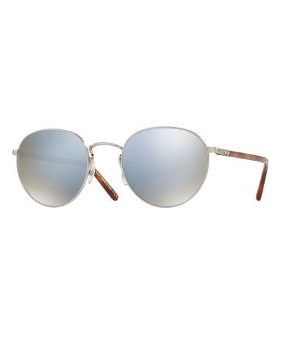 Hassett Mirrored Round Sunglasses, Silver