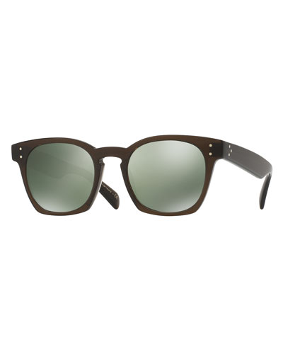 Byredo Square Mirrored Sunglasses, Green