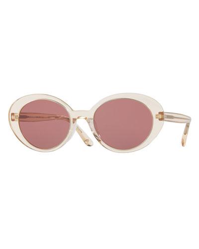 Parquet Monochromatic Oval Sunglasses, Yellow/Pink