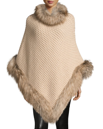Seed-Stitched Cashmere Fox-Trim Poncho, Oatmeal