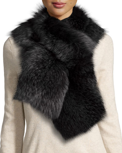 Fox Fur Pull-Through Scarf, Charcoal