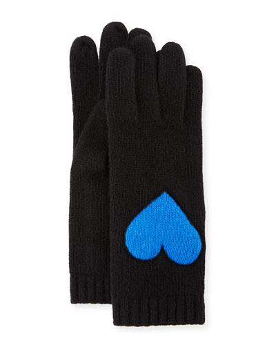 Cashmere Heart Tech Gloves, Black/Blue