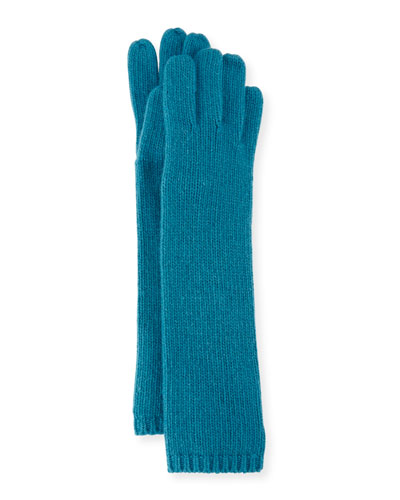 Long Cashmere Tech Gloves, Teal
