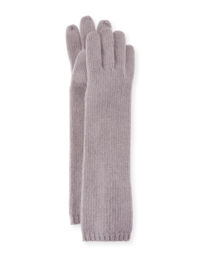 Long Cashmere Tech Gloves, Zinc