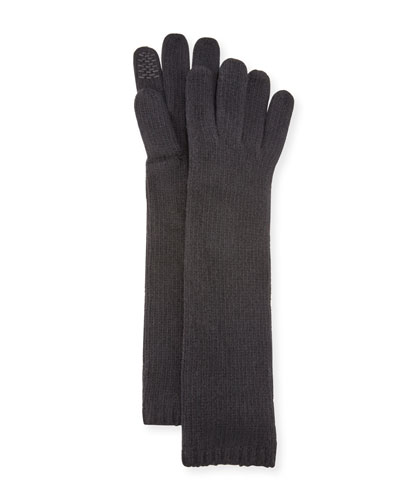 Long Cashmere Smart Gloves, Black