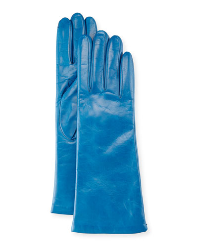 Nappa Leather Gloves, Mineral Blue