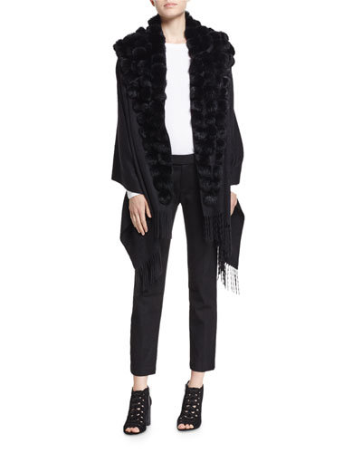 Cashmere Wrap w/ Fur Pompoms, Black