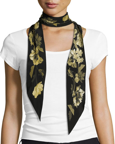 Floral Super Skinny Silk Scarf, Gold/Black