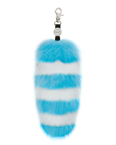 Goody Gumdrops Striped Fox Fur Handbag Charm, Blue/White
