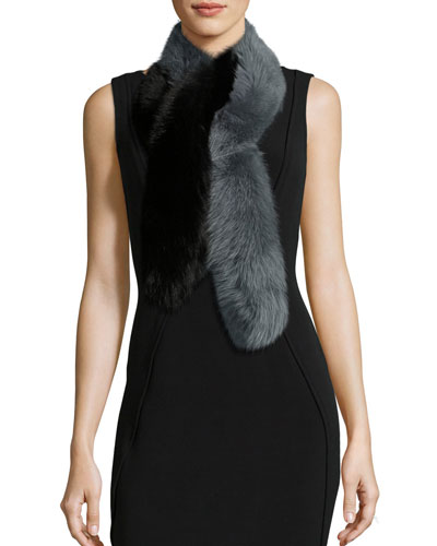 Two-Tone Fox Fur Candy Cane Scarf, Black/Gray
