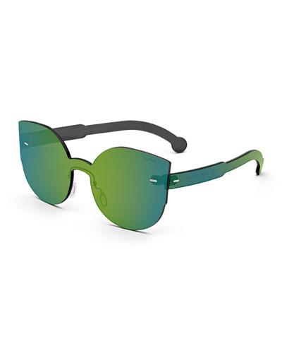 Tuttolente Lucia Cat-Eye Iridescent Sunglasses, Blue/Green
