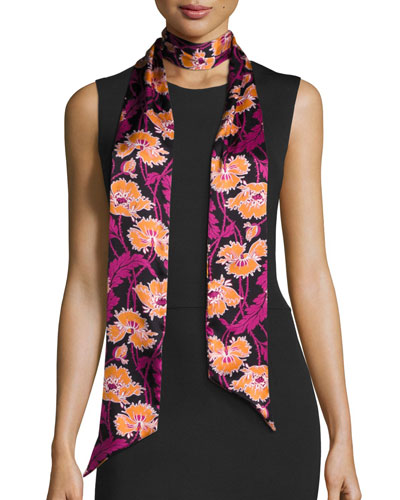 Honesty Silk Satin Skinny Poppy Scarf, Magenta