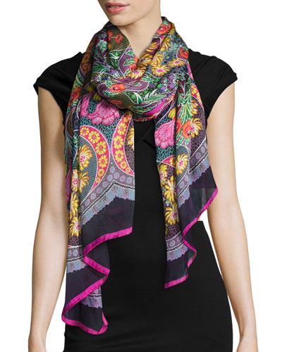 Rhapsody Silk Satin Paisley Scarf, Black/Multicolor