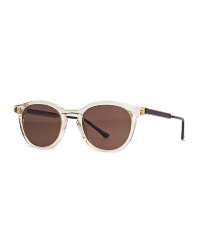 Boundary Transparent Round Sunglasses, Champagne