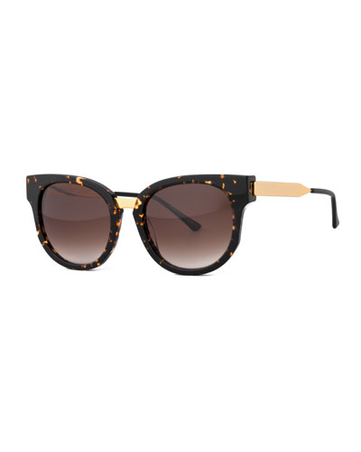 Affinity Square Mixed-Media Sunglasses, Havana