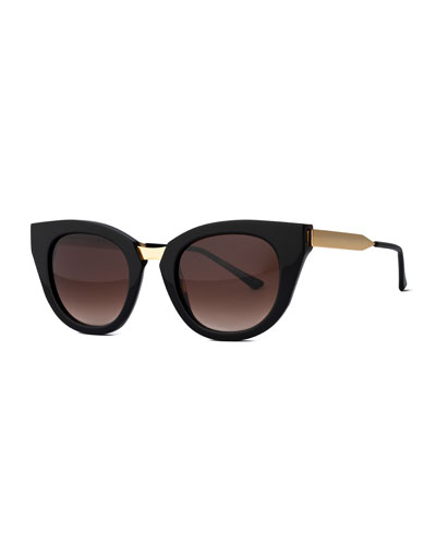 Snobby Cat-Eye Sunglasses, Black