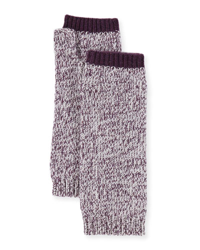 Marled Cashmere Fingerless Gloves/Arm Warmers, Plum