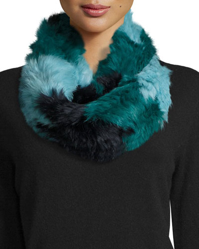 Chevron Sheared Rabbit Fur Infinity Scarf, Blue